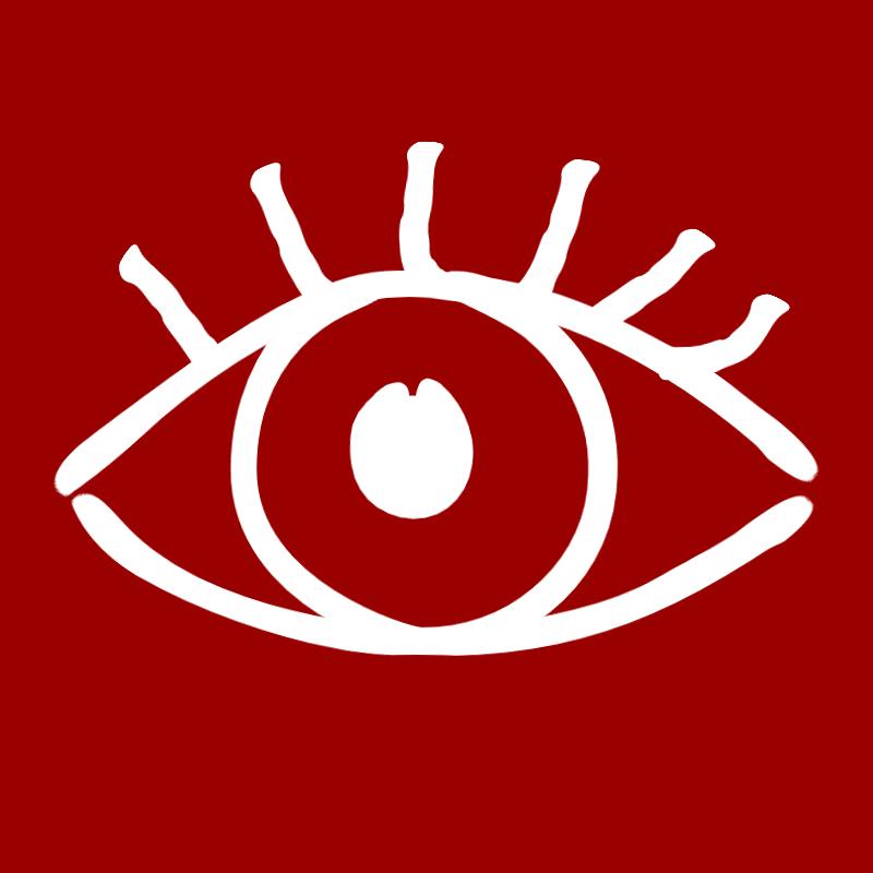 Weißes Auge auf rotem Grund. Ersatzgrafik für Tatortsymbolbild